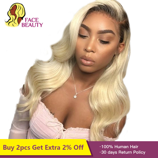 Facebeauty Long 150% Density Remy Brazillian Body Wave Lace Front Wig 1B 613 Ombre Blonde Colored Preplucked Lace Wig Human Hair