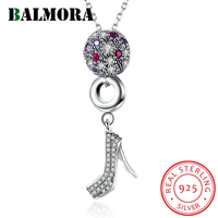 BALMORA 100% Real 925 Sterling Silver Fashion Jewelry High Heel Pendant Necklaces for Women Lover Party Gift Bijoux SVM006