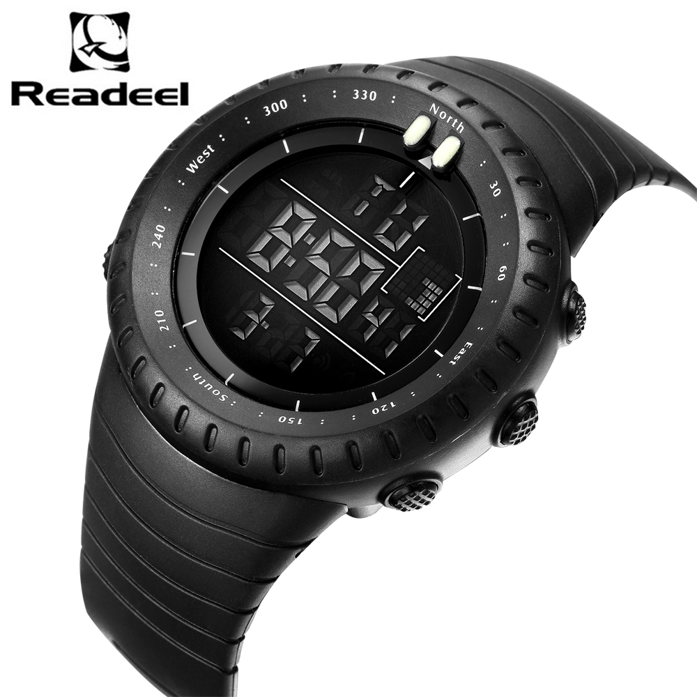 Readeel Chronograph Sports Watches Men Double Time Countdown LED Digital Watch Military Waterproof Wristwatch Alarm Clock 1251 90 260v ac dc digital timer 4 digit display alarm clock countdown time counter chronograph relay output 1 alarm