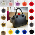 1PC first Fluffy Large 12CM Faux Fox Fur Pom pom Ball Key Chain Purse Bag Car Pendant Charm Bag Accessories