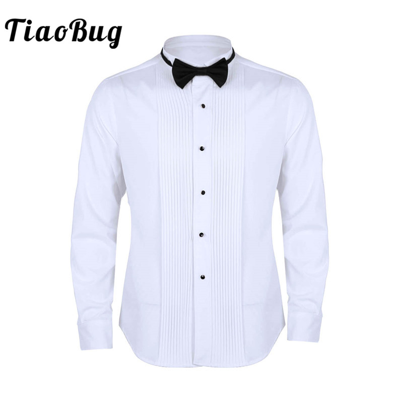 TiaoBug Men Long Sleeve Slim Fit Solid Color Casual Tuxedo Dress Shirts With Bow Tie White Business Formal Wedding Party Shirt