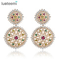 LUOTEEMI 2015 New Vintage Brincos White/Champagne Gold Plated 2pcs Round Clear And Multi Zirconia Drop Earrings for Women Party