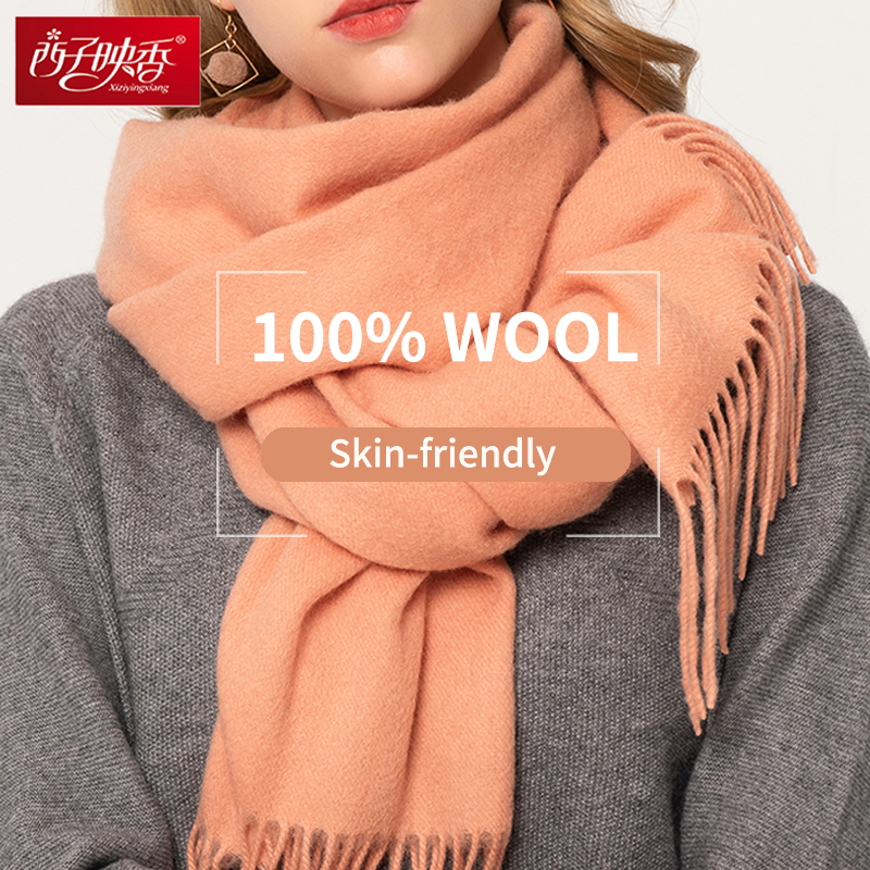 100% Pure Wool   Scarf   Women Winter   Scarf   Luxury 2018 Shawls and   Wraps   for Ladies Solid Pashmina Tassel Winter Warm Wool   Scarves