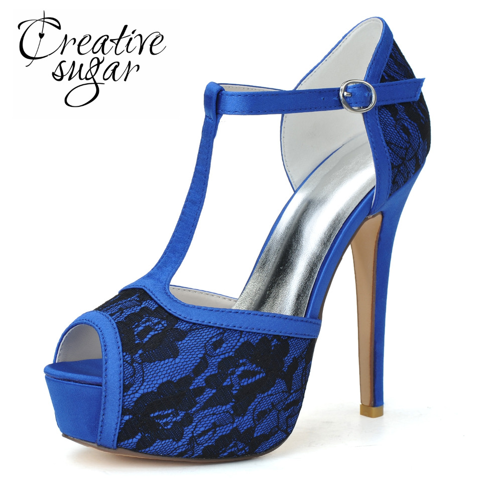 Creativesugar Elegant T strap lace platform high heels woman open toe wedding bridal party prom dress shoes blue pink white heel fashion white lady peep toe shoes for wedding graduation party prom shoes elegant high heel lace flower bridal wedding shoes