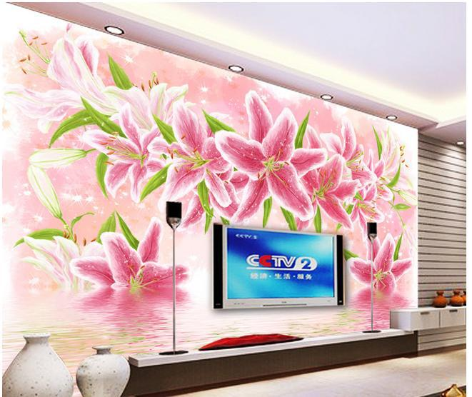 ⑦3d photo wallpaper custom 3d wall murals wallpaper Lily reflection ...