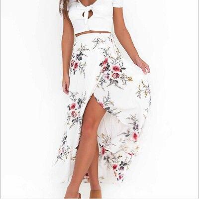 Fashion Vintage Women Boho Tribal Floral Frint Bandage Lace Up Asymmetrical Skirt Maxi Summer Beach Long Casual Skirts