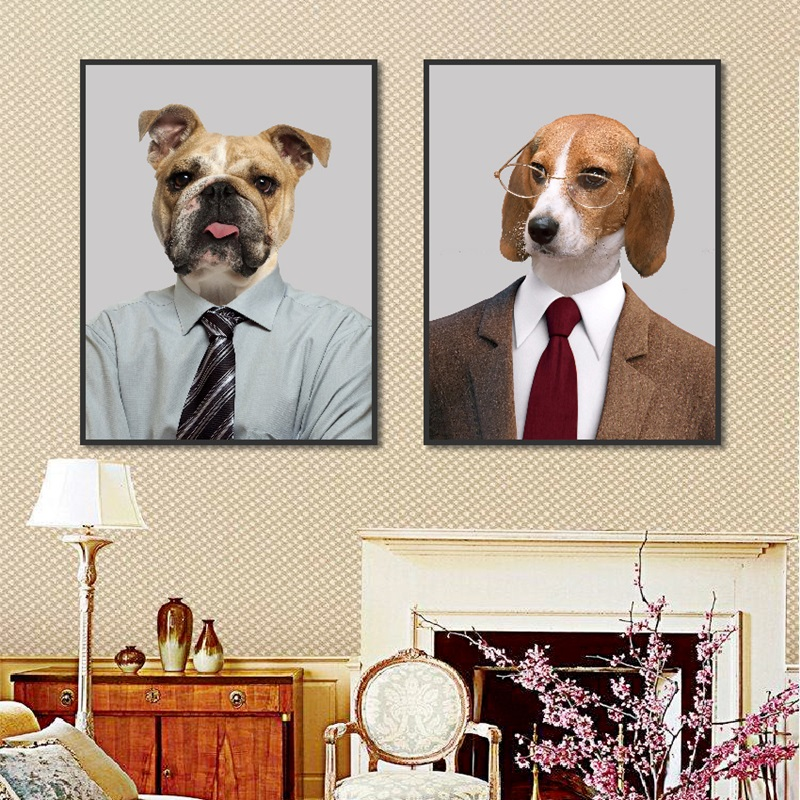 Creative Cute Dog Spray Canvas Painting Nordic Decoration Home Art Poster Modular Wall Picture for Children 39 s Room Nursery Decor in Painting amp Calligraphy from Home amp Garden