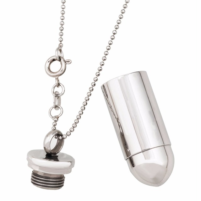 Stainless Steel Short Bullet Urn Necklace