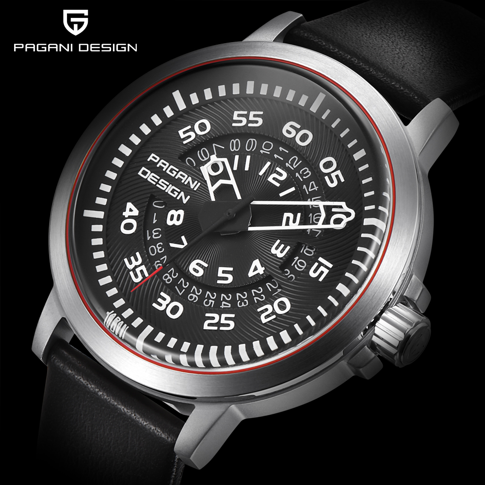 PAGANI DESIGN Mens Watches Top Luxury Waterproof Leather Quartz Watch