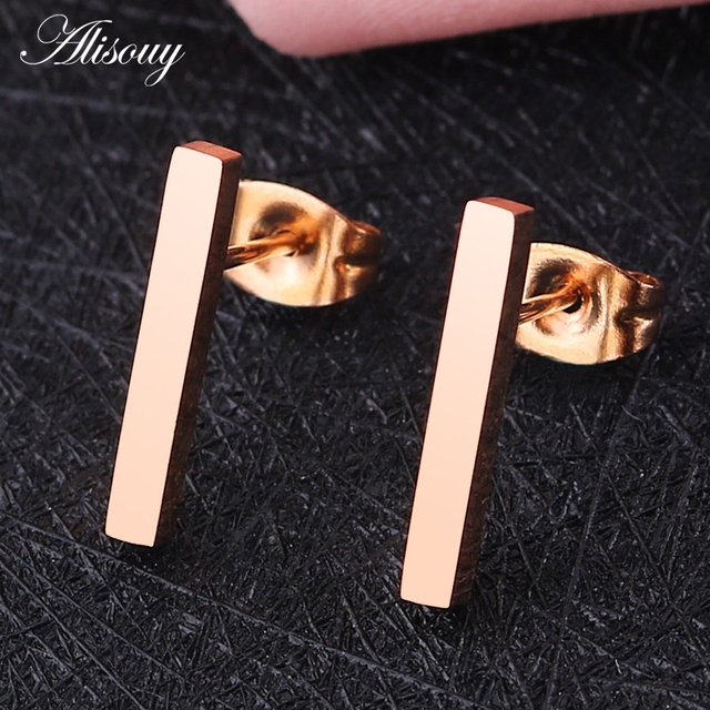 Alisouy 2PC 20g Minimalist Brief Gold color Rose Gold Square Bar Stud Earrings For Women Femme.jpg 640x640 - Alisouy 2PC 20g Minimalist Brief Gold/ color/Rose Gold Square Bar Stud Earrings For Women Femme Bijoux 5/10/15mm length bar
