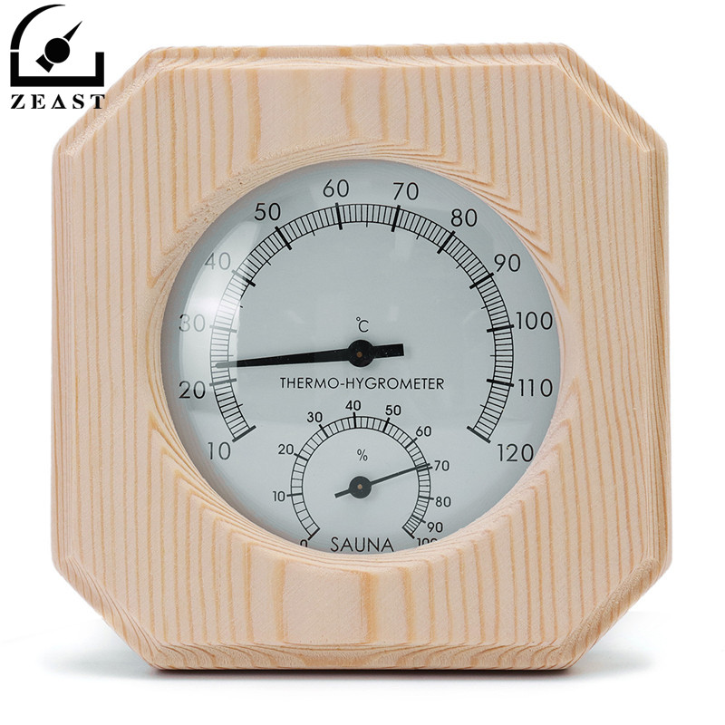Single Wood Thermometer Temperature Instruments Humidity Room Thermostat Sauna Accessory Wooden Hygrothermograph Hygrometer free shipping high quality sauna accessory cartoon design sauna equipment thermometer hygrometer