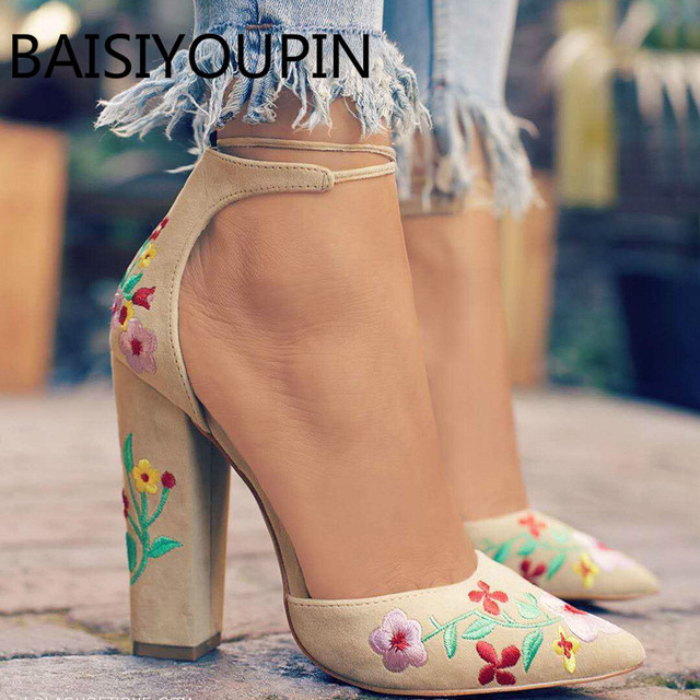 532ea2b368b New Popular Style Europe Pointy Embroidery Women Rough High Heel Sandals  Female Big Size 42 43 All Match Women Dress Party Pumps
