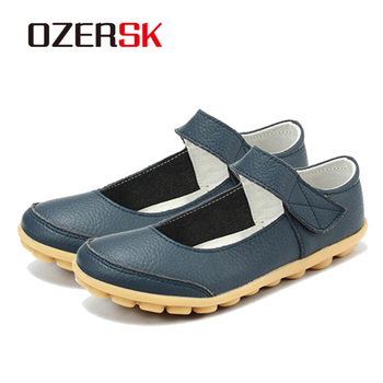 OZERSK Brand Summer Soft Comfortable Split Leather Woman Flats Shoes Leisure Ballet Footwear Hollow Out