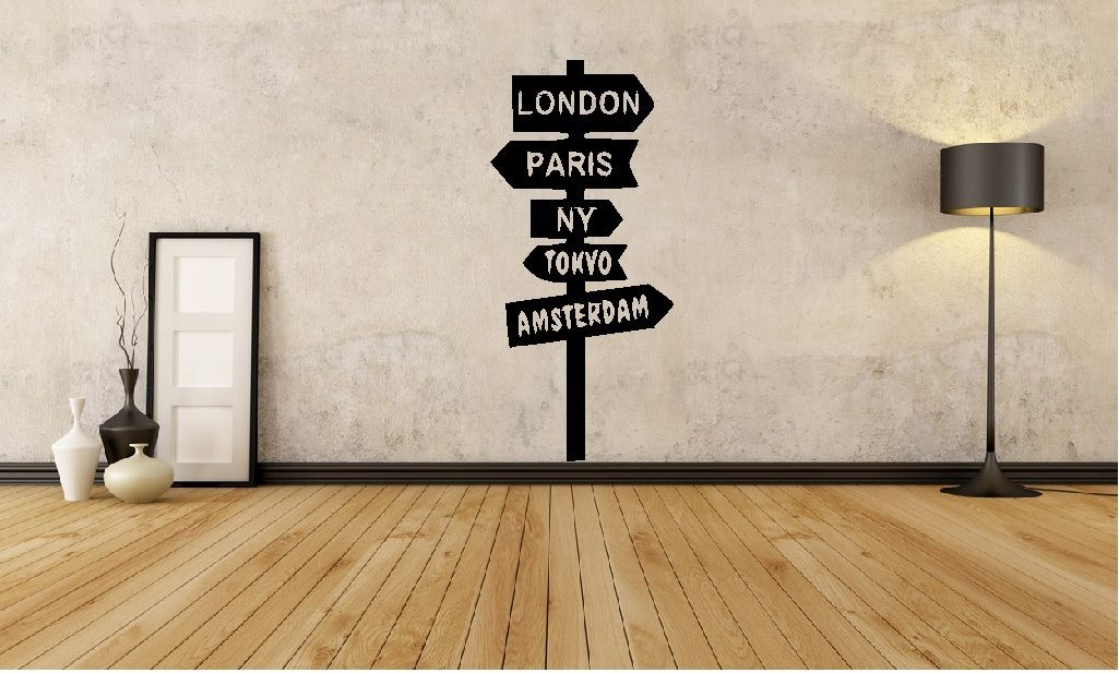 HWHD World Sign Post Londër New York Wall Art Decal Home Travel Sticker Transport i ri falas