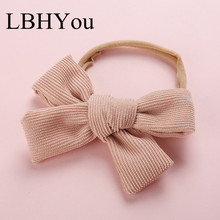 1PCS Knot Bows Nylon Headbands,One Size Fit Most Hand Tie Corduroy Fabric Elastic Headband,Baby Girls Hair Accessories