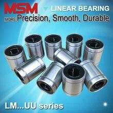 10pcs MSM Linear Bearings LM4 LM5UU LM6UU LM8UU LM8SUU LM10UU LM12UU LM13UU LM16UU LM20UU LM25UU LM30UU Shaft Ball Bushings mm