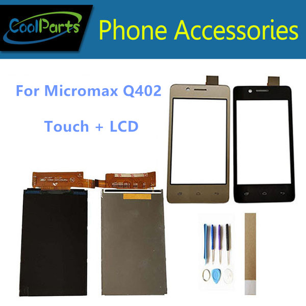 4.0 Inch For <font><b>Micromax</b></font> Bolt <font><b>Q402</b></font> Bharat 2 <font><b>Q402</b></font> Seperate <font><b>LCD</b></font> Display With Touch Screen Glass Black Gold Color With Tools Tape image