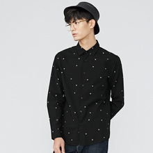 gxg.jeans Men's winter black white youth white point embroidered Slim wild long-sleeved shirt 64603012(China)
