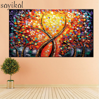 Handpainted Tree Of Life Abstract Oil Painting On Canvas Handmade Rose Trees Paintings For Living Room Home Decoration Wall Art