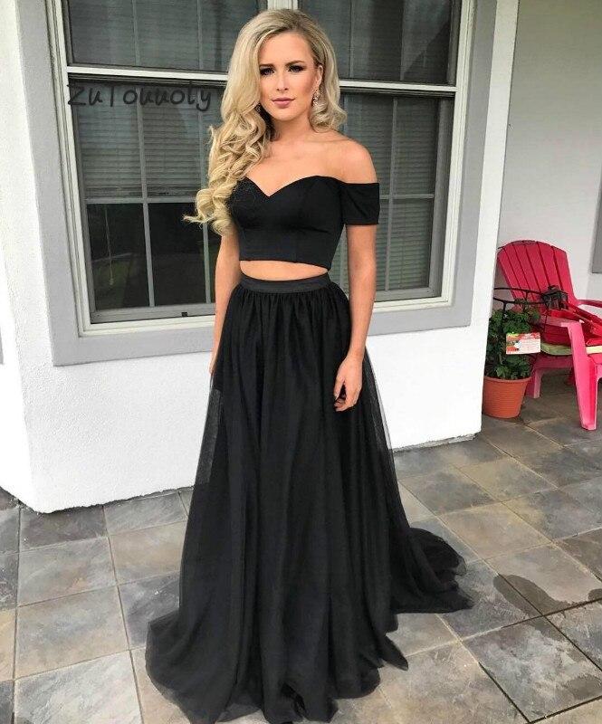 Beautiful Black Two Piece   Prom     Dress   2019 Off The Shoulder Plus Size Crop Tops Long Graduation Party vestidos de fiesta de noche