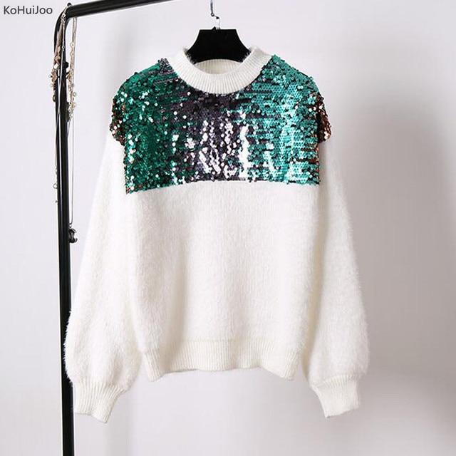 Kohuijoo 2017 Роскошные зимние Модные свитеры Для женщин Лоскутная Блестками Пуловеры для женщин уличная осенний вязаный детский комбинезон