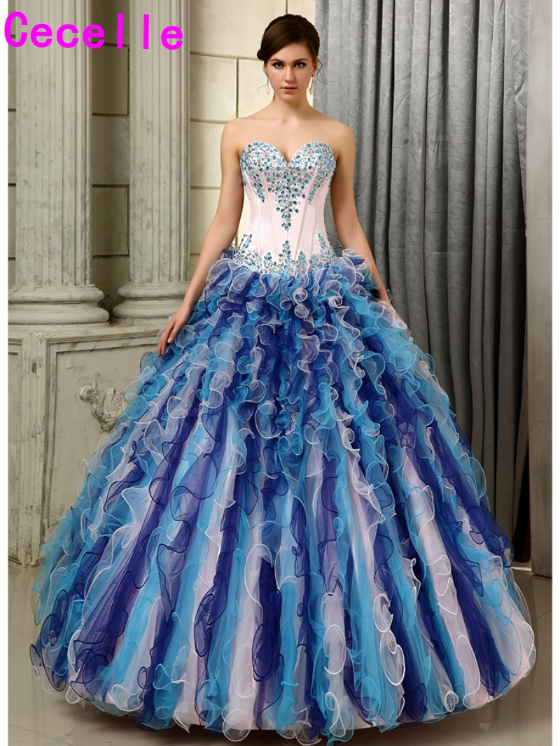 2017 Ball Gowm Prom Quinceanera Dresses Multi Colored Blue Long Crystals Ruffles Tulle Girls Sweet 16 Quinceanera Gowns Sale
