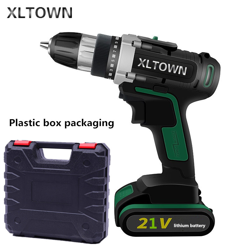 цена на XLTOWN 21V Cordless Electric Drill Lithium Battery Rechargeable Two-Speed Electric Screwdriver with a box Electric Drill