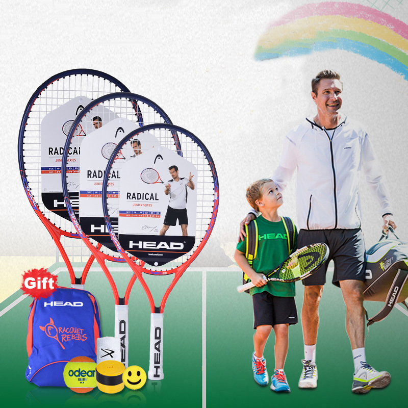 25 Inch HEAD Tennis Racket Child Raquete Tenis Composite Carbon Tennis Racquet Outdoor Sport Tennis Training