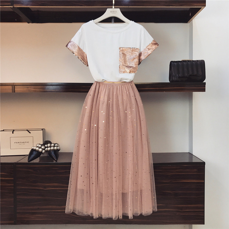 2019 Summer Women Pink Sequined Pocket Short-sleeved Cotton T-shirt + Star Sequins Long Mesh Skirt Set Girls Cute Two-piece Sets