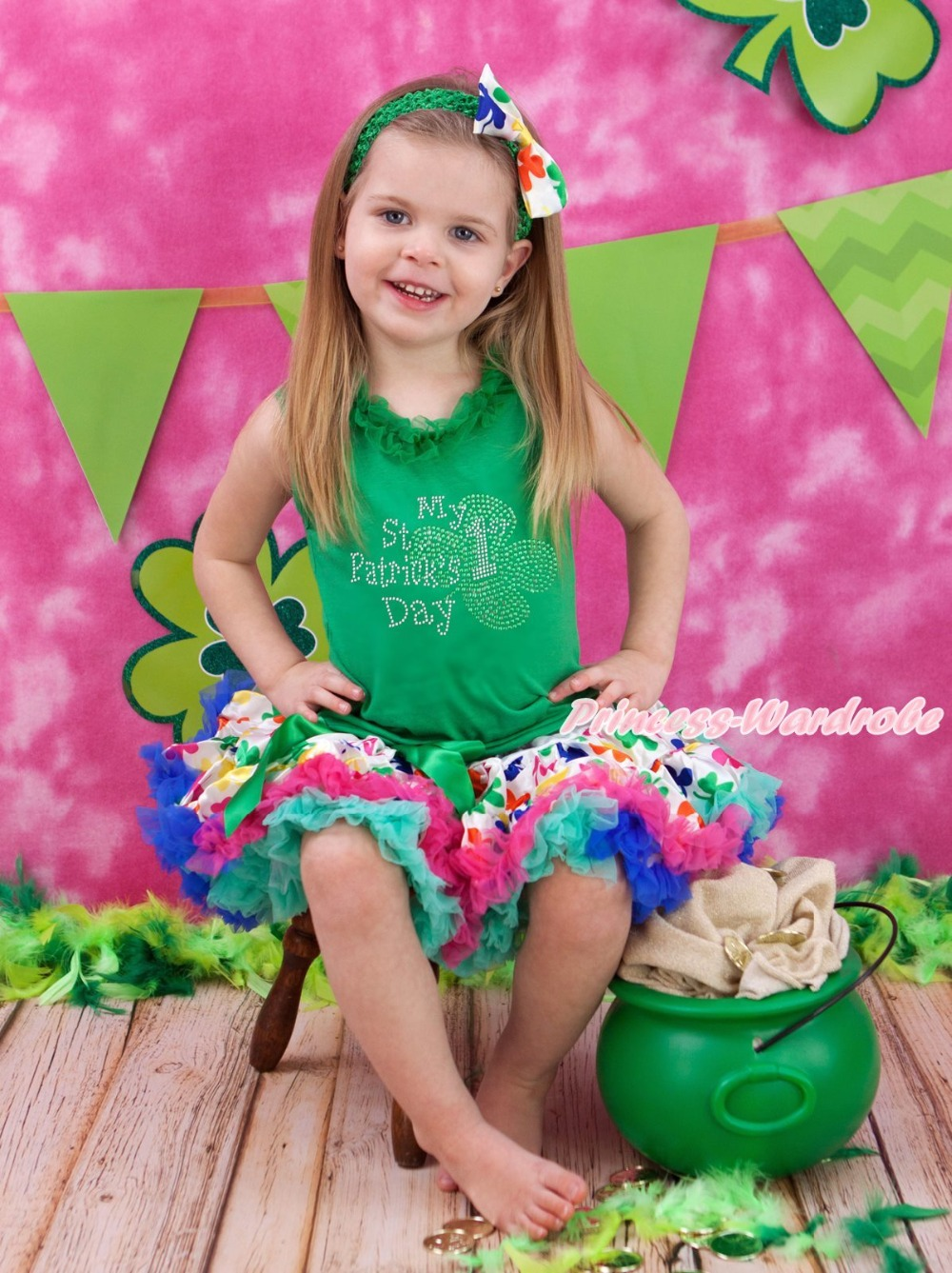 My 1ST St Patrick Day Green Top Shirt Rainbow Clover Girls Skirt Outfit Set 1-8Y white top my 2nd st patrick day clover green bling sequins girls skirt set 1 8y