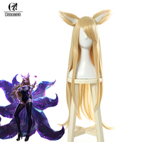 ROLECOS Game LOL Cosplay Hair K/DA Ahri Cosplay Headwear Group KDA Ahri 90cm Long Yellow Heat Resistant Synthetic Cosplay Hair