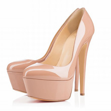 14cm Euro Size 35-42 New Arrival Thin High Heels Platform Pumps Women Sexy Wedding Party and Nightclub Shoes Nude Candy Color