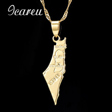 ФОТО  Israel Map Pendant Necklace for Women/Men Gold Color Israel Letter Necklaces Jewelry