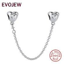 Реальные 925 стерлингового серебра Ясно CZ Микки Сердце безопасности цепи Fit оригинальный браслет Pandora DIY ювелирных изделий Аксессуары