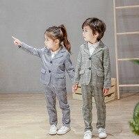 British Style 2018 Spring Fall Kids Plaid Suit Boys Kindergarten Clothes Girls School Uniform Children's Casual Coat + Pant A843