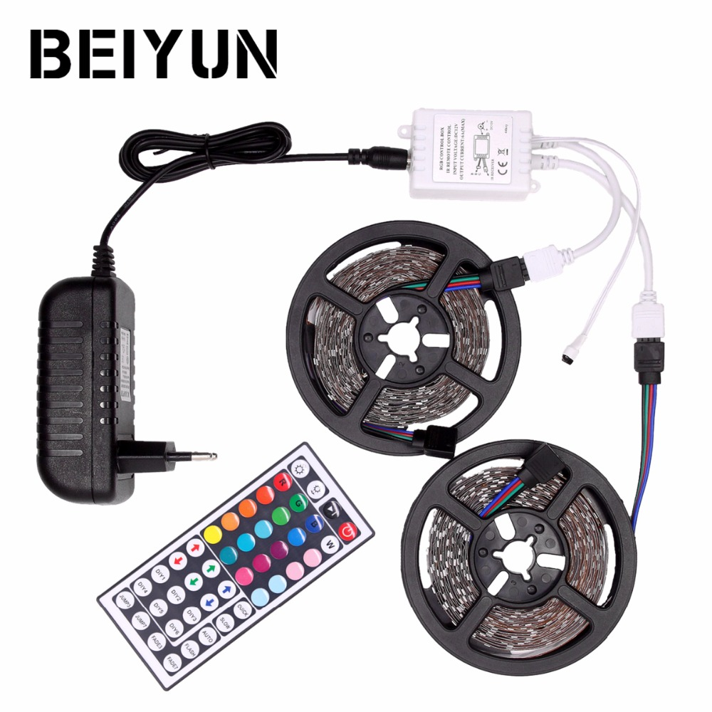RGB LED Strip Waterproof 5050 DC12V Tira LED Light Strip 5M 10M Neon LED Flexible Tape Ledstrip with Controller and 12V Adapter 10m 5m 3528 5050 rgb led strip light non waterproof led light 10m flexible rgb diode led tape set remote control power adapter