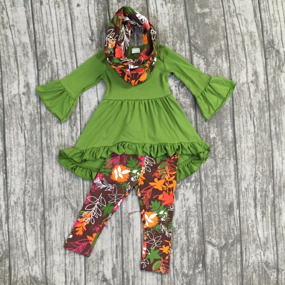 FALL/Winter scarf set children suit baby girls leaves print ruffles cotton dress 3pieces long sleeves pants boutique clothes fall halloween clothes cutest pumpkin short sleeve orange black sequins suit children boutique long pants with matching bow set