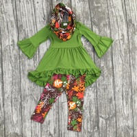 FALL Winter Scarf Set Children Suit Baby Girls Leaves Print Ruffles Cotton Dress 3pieces Long Sleeves