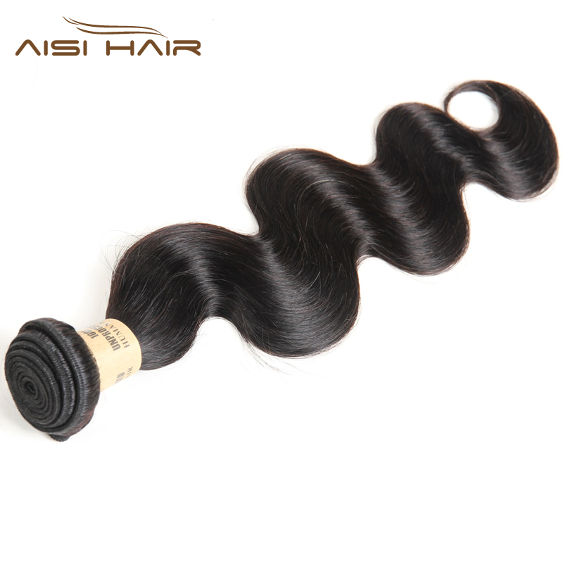 AISI HAIR Indian Body Wave Bundles 100% Unprocessed Virgin Hair 1 Bundle Human Hair Extensions Natural Color 10-24 Inch