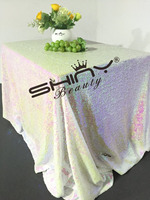 ShinyBeauty Square Tablecloth Changed White 60x120in 150x300cm Sequin Tablecloth,Glitter Table Cloth,Sequin Wedding Tablecloth R