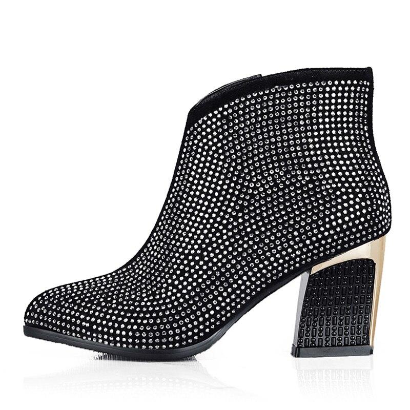 BuonoScarpe buty damskie Rhinestone zamszowe obcasy buty wysokiej dziwne obcasy Bling kostki Botas Mujer ciepłe zimowe botki 2018 w Buty do kostki od Buty na  Grupa 3