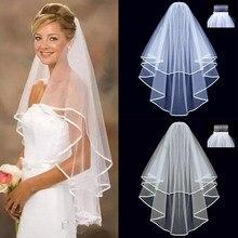 Véu de noiva para casamento, véu curto de casamento com duas camadas com pente branco marfim
