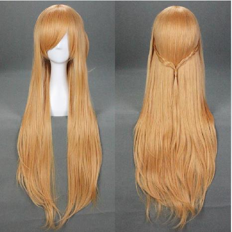 Sword Art Online Asuna Yuuki Cosplay wig long Golden straight hair synthetic 100cm heat resistent hairpiece - HangZhou BOBO Co., Ltd store