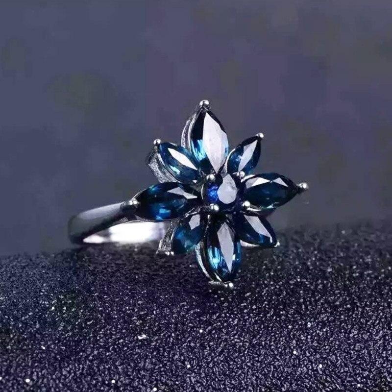 Takı ve Aksesuarları'ten Halkalar'de Romantik safir çiçek yüzük doğal koyu mavi safir gümüş yüzük katı 925 ayar gümüş safir yüzük akşam parti için'da  Grup 2