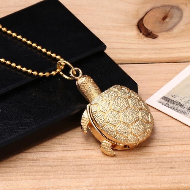 Special Design Turtle Shape Unisex Antique Case Vintage Brass Rib Chain Quartz P