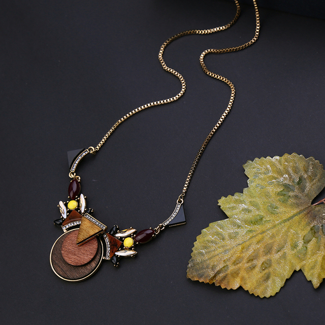 From Indian Unique Brown Wood Necklaces & Pendants Antique Gold PlatedLong Sweater Necklace Jewelry