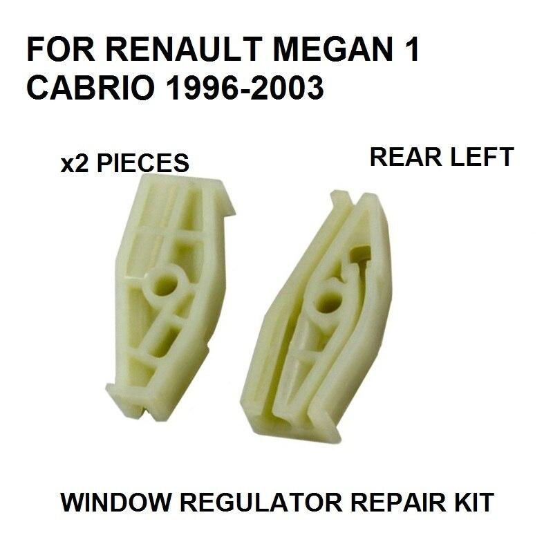 X2 PLASTIC PIECES 1996-2003 FOR RENAULT MEGANE I 1 CABRIOLET WINDOW REGULATOR REPAIR CLIP REAR-LEFT NEW