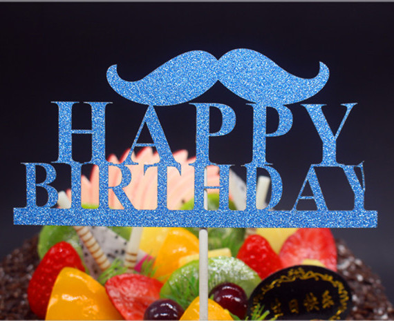 DIY Happy Birthday Father Moustache Cake Flag Topper Multi Colors For Birthday Party Cake Baking Decor