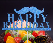 DIY Happy Birthday Father Moustache Cake Flag Topper Multi Colors For Party Baking Decor