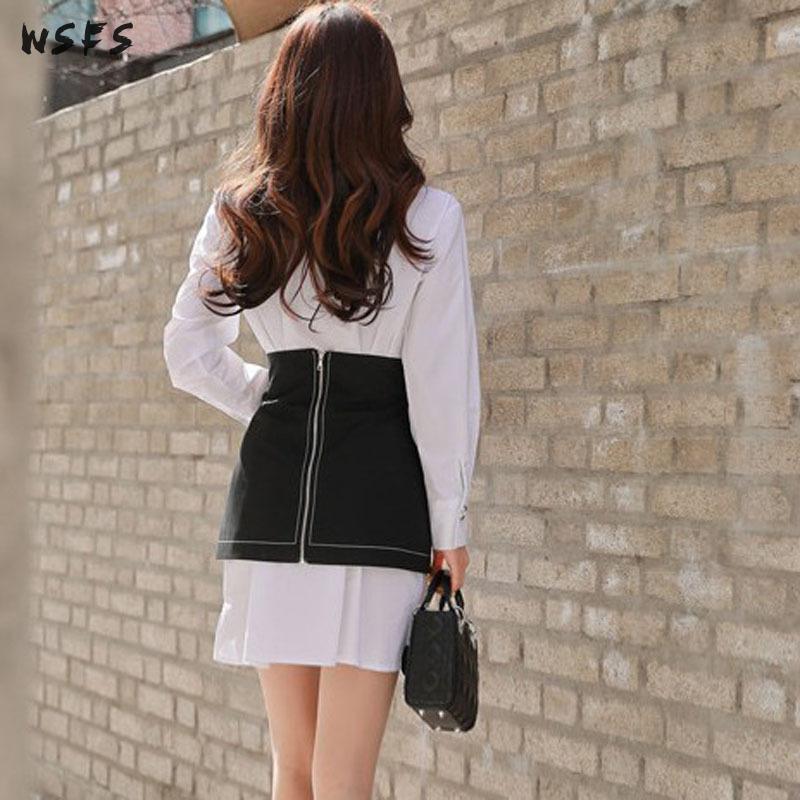 2 pièces ensembles blanc chemise manches longues hauts Blouse femmes robe lâche moulante dames noir à lacets Mini enveloppement de crayon robes de soirée - 6
